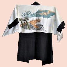 Men's Haori Silk Kimono jacket with Dragon and Tiger 1950-1960