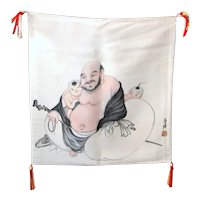 Japanese Silk Hotei Laughing Buddha Fukusa Tea Mat Tapestry