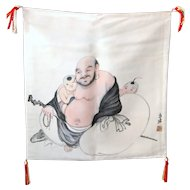 Japanese Ink on Silk Hotei Fukusa, Chinese Laughing Buddha, Karako, Asian, Tapestry, Tea mat