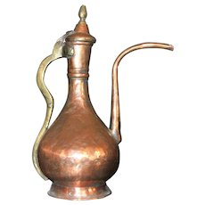 Islamic Tinned Copper Ewer 19th Century Ottoman Persian Washing Pitcher