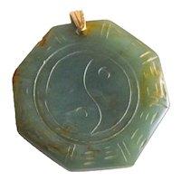 Vintage Jade Feng Shui Bagua Pendant with 14K Gold Bail Yin Yang Jewelry
