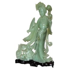 1920 Chinese Jade Carved Statue Figure of Yang Kuei-Fei Taizhen on a Wood Base