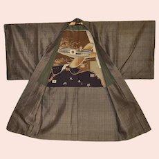 Unseen Kimono Seiji Yoshiwara The Lindbergh of Japan Silk Haori  1930s