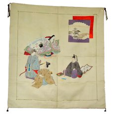 Antique Tea Ceremony Silk Mat Japanese Art Meiji Imperial Noble People