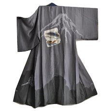 Silk Kimono, Shibori Tie-dye, Plant Thread colors, Mount Fuji, Gozabune Boat