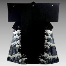 Japanese Black Silk Kimono with Kanagawa Wave 1947-1955