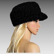 Astrakhan Karakul Lamb Wool Fedora Hat Cap