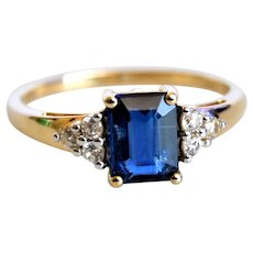Emerald Cut Kashmir Blue Kyanite Ring with Diamonds