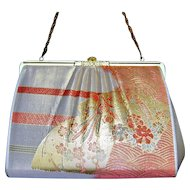 Vintage Womens Kimono Small Mini Handbag Clutch Wedding Metallic Obi Fabric Bag