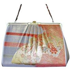 Vintage Womens Kimono Small Mini Handbag Clutch Wedding Metallic Obi Fabric Bag
