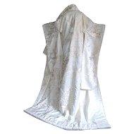 Japan Uchikake Bridal Kimono Silk Embroidery Wedding Dress Overcoat