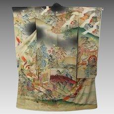 19th century Meiji Era Japanese Kimono Silk Yuzen Furisode