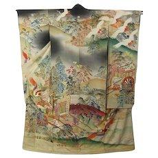Meiji Era Japanese Kimono Silk Yuzen Furisode