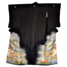 Meiji Japan Silk Kimono with Landscape and Pheasants amid Peonies