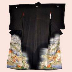 Meiji Era Japan Silk Kimono with Yuzen and Embroidery Landscape and Pheasants amid Peonies