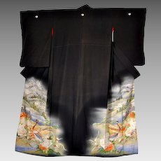 Meiji Era Japan Silk Kimono with Yuzen and Embroidery Landscape and Pheasants amid Peonies