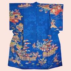 Rare Antique Chayatsuji Kimono Blue Silk 1930s Landscape House Bridge Trees Flowers
