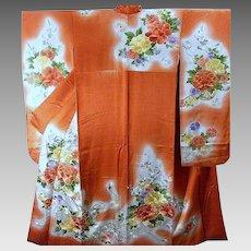 Princess Japanese Kimono Silk Robe, Floral Embroidery, Vintage Furisode