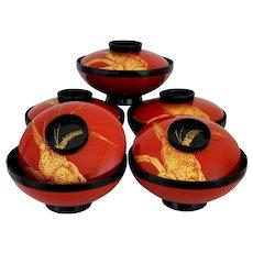 Urushi Lacquer Lidded Meshi Rice Bowls, Japanese Wajima-nuri Dinnerware
