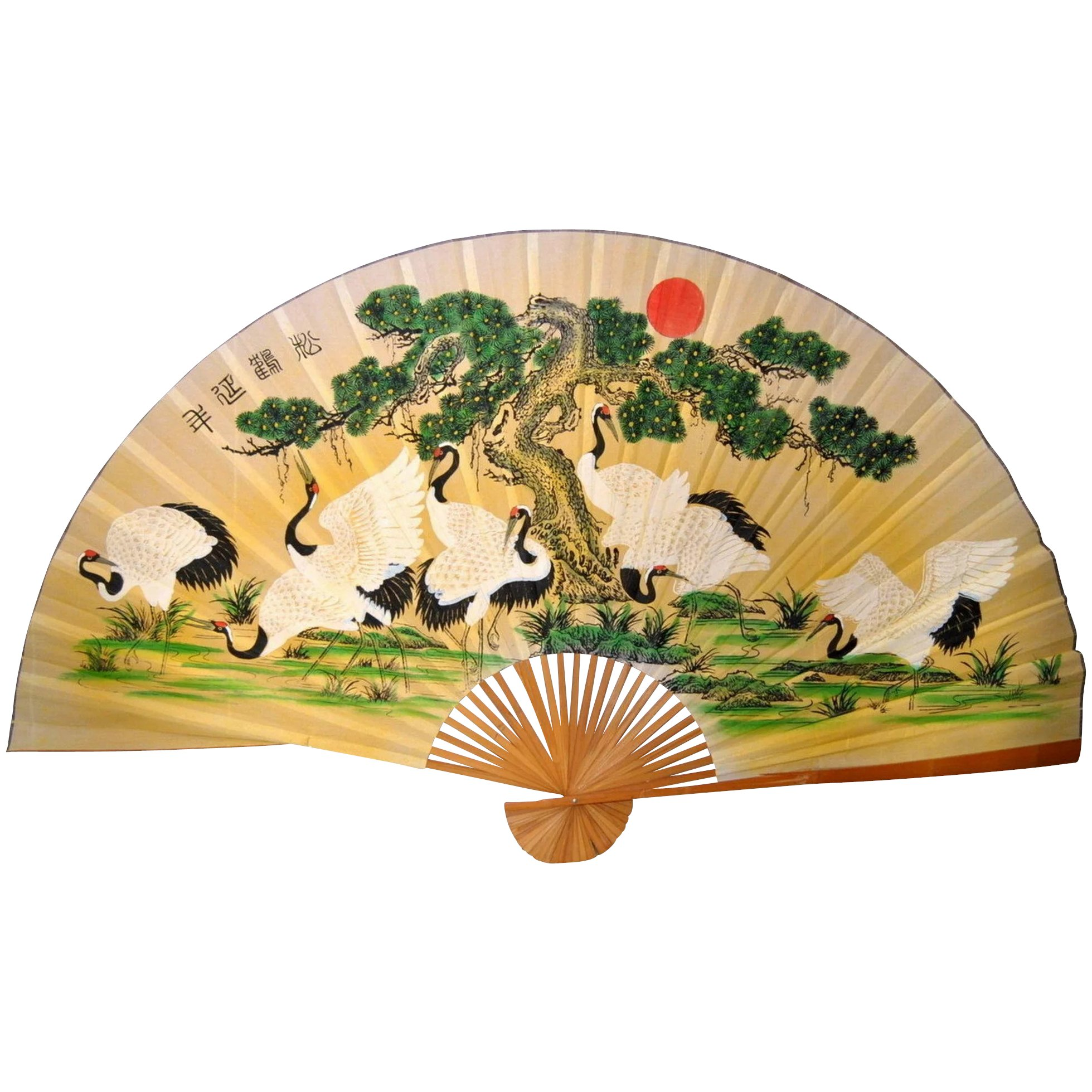Display Japanese Fan, 79 inches x 50 inches Hemp canvas, Paper ...