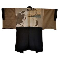 Collectors LAST SAMURAI Clan Nihonji Men's Silk Kimono Black Montsuki
