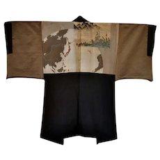 Last Samurai Kimono Clan Nihonji Silk Haori Black Montsuki