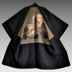 Japan Mens Silk Kimono Montsuki Haori Maeda Clan with Tiger and Lion