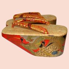 Japanese Maiko Okobo Sandals, Geisha Geta for kimono