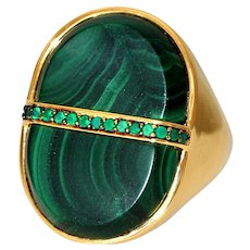 Rhapsody Untreated Malachite and Tsavorite Statement Ring, 20.8 carats