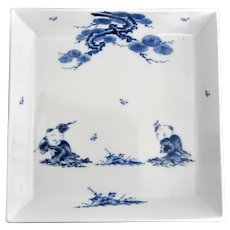 Highly Collectible Mikawachi Hirado Blue and White Porcelain Square Dish Platter with Children Playing