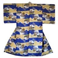 Japanese Military Kimono with WWII Yamato Battleship Rare Propaganda Trench Art
