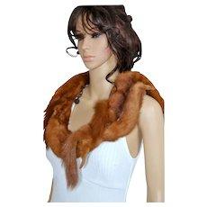 Real Fur Mink Stole, Fur Collar, Flapper Shawl, Demi Buff Wrap, Marten Shrug