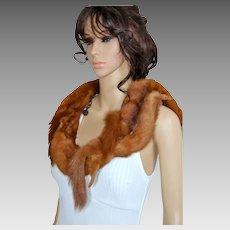 Vintage 1940 Real Fur Mink Stole Flapper Shawl, Demi Buff Wrap, Marten Shrug