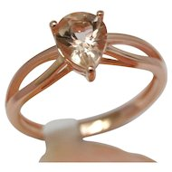 Pink Emerald 14K Rose Gold Engagement Ring, Pear shaped Upside Down