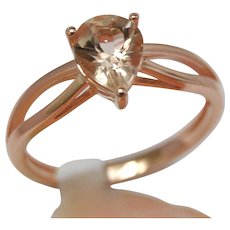 Pink Emerald Morganite 14K Rose Gold Engagement Ring Pear shaped Upside Down
