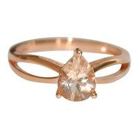 Estate Morganite Solitaire 14K RG Engagement Ring Split Band
