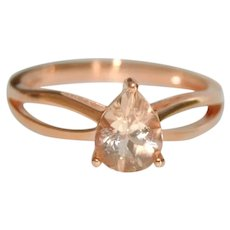 Estate Morganite Solitaire 14K RG Engagement Ring Split Band