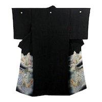 Japanese Silk Kimono Kurotomesode with Asian Landscape and Castle
