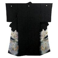 Japanese Silk Kimono Kurotomesode with Asian Landscape and Castle
