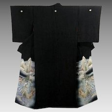 Vintage Japanese Kimono Kurotomesode, Black Silk Robe Final Sale