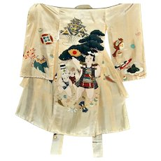 Momotaro Japanese Silk Kimono, Kids Robe, Clam-peach Boy, Traditional Hero