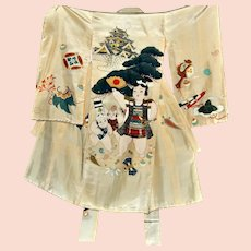 Momotaro Japanese Silk Kimono, Kids Robe, Clam-peach Boy, Traditional Hero