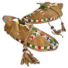 1940 Beaded Cheyenne Child's Moccasins, Native American Shoes
