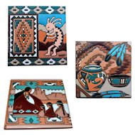Native American Navajo Ceramic Tiles, Kokopelli Southwest Handmade Pottery