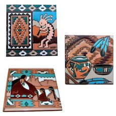 Native American Navajo Ceramic Tiles, Kokopelli Fresco Handmade Pottery