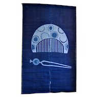 Japanese Indigo Noren Curtains with Tsuge Comb and Hairpin
