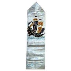 Silk Obi with Japan Nanban Trade Ship Embroidery