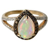 Natural Opal, Champagne and White Diamonds, 14K Gold Engagement Ring