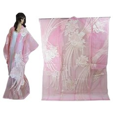 Organza Japanese Kimono, Pink, Transparent Wedding Overdress