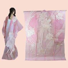 Unique Kimono Transparent Pink Organza Wedding Overdress Cape